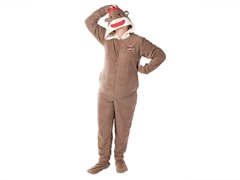 Sock Monkey Footed PJ's with Hood