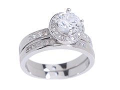18kt WG Plated SS Elevated CZ Engagement Ring Set
