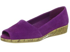 Aerosoles Sprig Break Open-Toe Wedge, Purple Suede