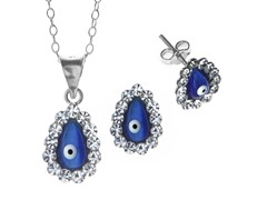 SS Evil Eye Blue CZ Studs/Chain Set