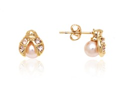 Rose Gold Pearl Ladybug Stud Earrings