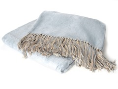 Bamboo Viscose Throw - Blue/Barley