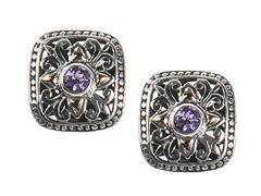 18kt Gold Accent Round Amethyst Earrings