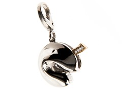 14Kt Gold, SS, Diamond Fortune Cookie Charm