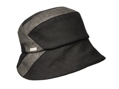 Daisy Fabric Bucket Hat, Black