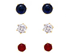 Sapphire, Ruby & White Crystal Round & Hearts Set of 3 Stud Earrings