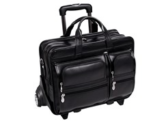 "Clinton Leather 17"" Wheeled Laptop Case"