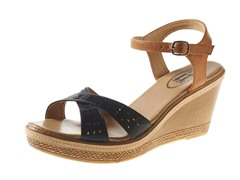 Carrini Wedge Sandal, Black/Tan