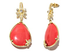 18kt Plated Synthetic Coral Earrings