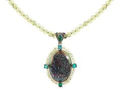 SS Forest Green Drusy Quartz & Peridot Bead Pendant