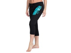 Bottoms Up Owl French Terry Capri, Black