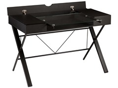 SEI Rexton Desk - Black w/ Glass