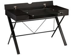 SEI Rexton Desk - Black w/ Glass