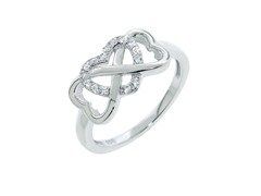 Sterling Silver Pave Heart Infinity Ring