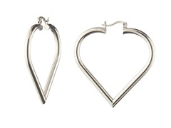 18k White Gold Plated Puffed Heart Hoops