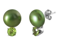 Freshwater Green Pearl & Peridot Earrings