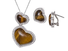 Tiger Eye Gemstone Earrings & Pendant