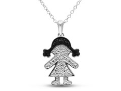 B&W Diamond Mommy & Girl Necklace