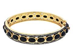 18K Gold-Plated SS Black Onyx Semi-Precious Gemstone Bangle