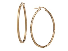 18kt Plated Silver Diamond Cut Hoops