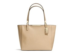 Coach Madison East/West Leather Tote -Light Gold/Tan