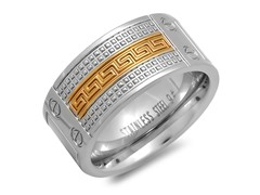 SS Ring w/ 18kt Gold Greek Key Accent
