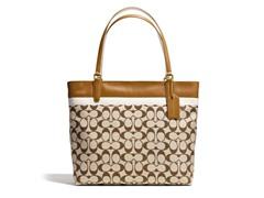 Coach Signature Fabric Tote - Brass/Khaki/Saddle
