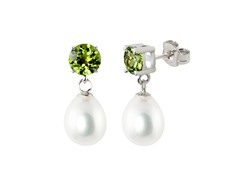 SS Freshwater Teardrop Pearl & Peridot Earrings