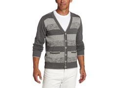 Alex Stevens Men's Striped Cardigan, Grey