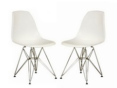 Accent Chair White Set of 2
