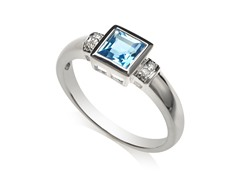 Sterling Silver and Blue Topaz Diamond Ring