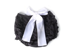 Ruffled Bloomer - Black with White Bow