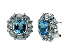 SS Blue Topaz Earrings w/ Omega Backs