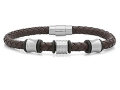 Men's Leather & Steel Bracelet, Brown
