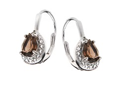 SS Smokey Topaz Gemstone w/Diamond Leverback Earrings