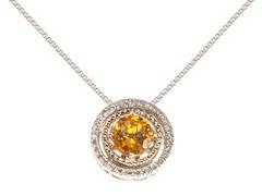 Silver & 14k Gold Citrine Pendant