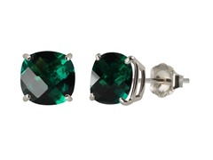 10K WG Stud Earrings, Created Emerald