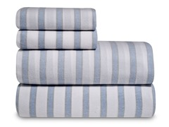 Blue Stripe Flannel Sheet Set-3 Sizes