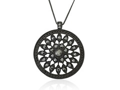 Riccova Country Chic Black Crystal Medallion Pendant Necklace