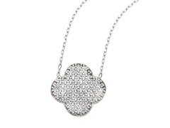 18kt White Gold Plated Clover Necklace