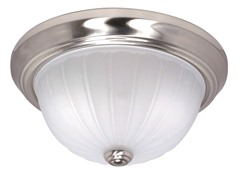 "1-Light 11"" Flush Dome, Brushed Nickel"