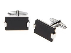 Sterling Silver Square Cufflinks, Onyx