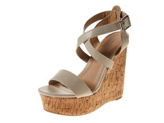 Carrini Strappy Wedge Sandal, Beige