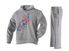 Girls Fleece Set - Butterfly, Grey(5-6X)