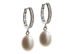 SS, Diamond Hoop With Freshwater Pearl Drop Earring