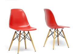 Azzo Plastic Shell Chair Set of 2 - Red