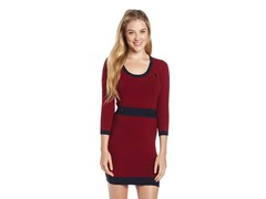 Solid Dress with 3/4 Sleeve, Wine Berry