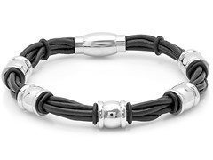 Black Leather Bracelet w/ Barrel Accent