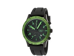 Men's Black/Green Silicone Chronograph
