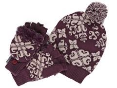 MUK LUKS® Beanie with Gloves Set, Purple